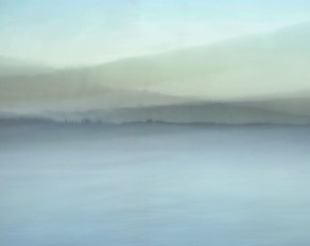 "Abstract landscape photography pale fantasy modern dreamy autumn pastel minimal lake - ""Blue tapestry"" 8 x 10"