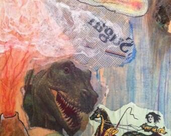 Dino Apocalypse Dream - Original Collage