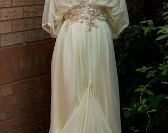 Cream Edwardian wedding dress Downton Abbey Steampunk Alernative wedding dress Yellow dress Mother of Bride dress Titanic wedding 0-26 US
