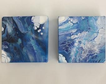 Acrylic Pour Painting on 4X4 Canvas | Modern Art Abstract Painting | Original Abstract Acrylic Painting | Fluid Acrylic