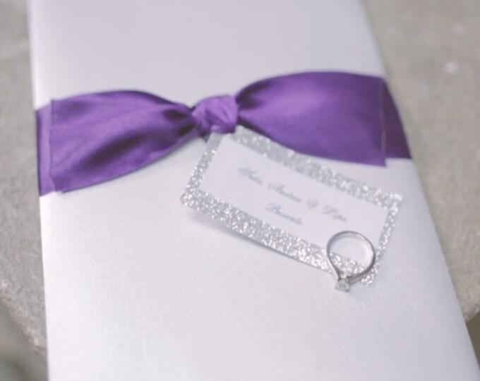Glitter wedding invitation. Glitter Silver, white pearl and purple theme. Elegant, Fancy and Chic wedding decor.