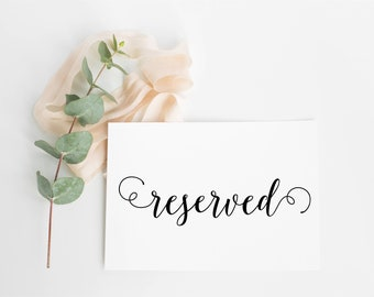 Swirly font Reserved Signs- white/cream/kraft brown for weddings, Parties etc