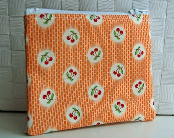 vintage style orange red white green cherries small zipper pouch cute change purse cherry zip pouch wallet