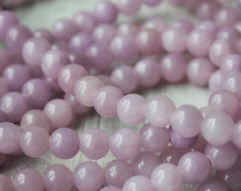 6mm Purple Beads, Lilac Beads, Candy Jade, Malaysian Jade, Soft Purple Beads, Small Beads, Necklace Making, Round Smooth,
