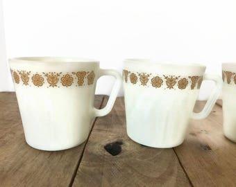 Pyrex Butterfly Gold D Handle Milkglass Mugs Set of Three (3)