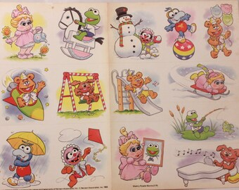 Vintage Stickers. Muppet Babies by Henson Associates. 2 Unsealed Sheets