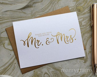 REAL GOLD FOIL Thank You From the Future Mr. & Mrs. Wedding Engagement, Bridal Shower, Couples Shower Thank You Cards, Cute Script Card Set