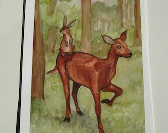 Archival Fine Art Animal Print - Rabbit on the Doe - Woodland Decor