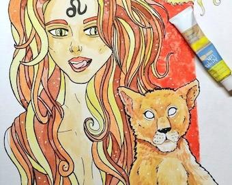Leo Lion Zodiac Goddess Original Watercolor Artwork 9x12
