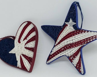 Quilled Patriotic Flag Heart or Star Ornament , Sun Catcher. Display your Patriotism.