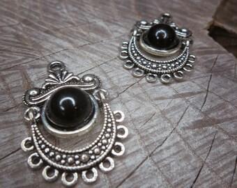 Half Black Ball Charm Applique ~2 pieces #100262
