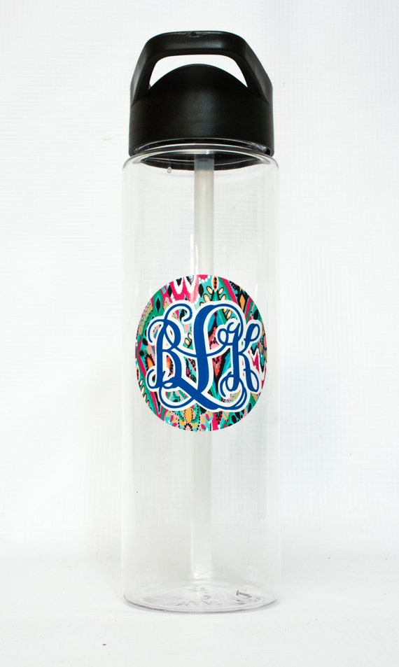 Motivational Water Bottle, Lilly Pulitzer Monogram, Large 25 oz clear Water Bottle, tumbler, sports bottle, fitness bottle, Lilly Pulitzer
