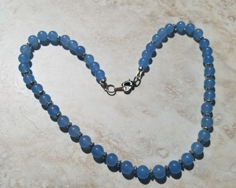 Blue Agate Beads Necklace, Pastel Blue Necklace,Summer Jewelry,Gifts for Her,Summer Necklace