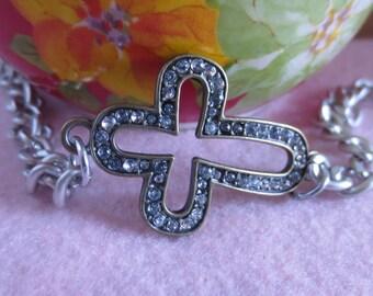 Side ways rhinestone cross bracelet