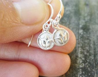 Lotus Earrings,Silver Lotus Earrings,Small Flower Earrings,Silver Drop Earrings,Earrings For Kids,Yoga Earrings,Small Drop Earrings