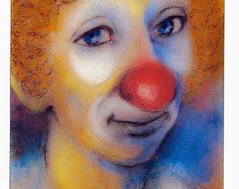 Circus Clown - #11 - 4 Art Cards featuring this pastel by Anthony Coulson.