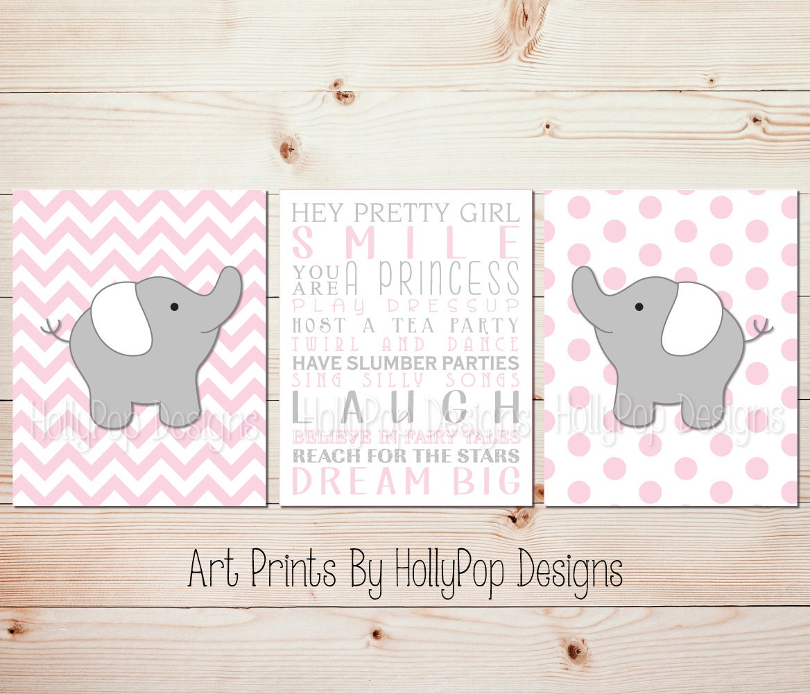 10 Rooms Decorated In Just One Colour: Elephant Room Decor Pink Wall Decor Pink Gray Nursery Art Baby