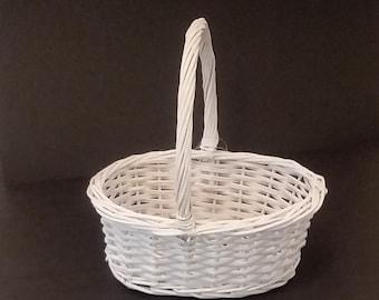 White Wicker Basket Wedding Basket Easter Basket w/ Purple Fabric Liner New Centerpiece Basket