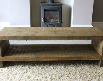 Handcrafted Chunky rustic reclaimed Wooden tv stand/cabinet in dark oak Wax