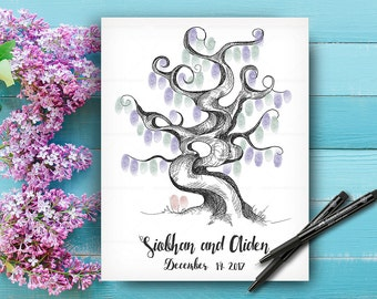 Wedding Keepsake, Wedding Guestbook Tree with Hand Lettered Font, Custom Hand Drawn Fingerprint Tree, Alternative Wedding Guest Book