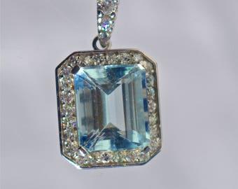 14K White Gold Aquamarine & Diamond Pendant Necklace,
