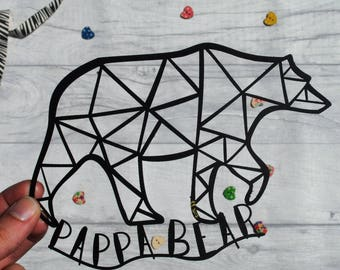Pappa bear paper cut, father's day present, dad gift, paper cut, gifts for him, gifts for dad, home decor, gifts for new dad, FREE P&P!