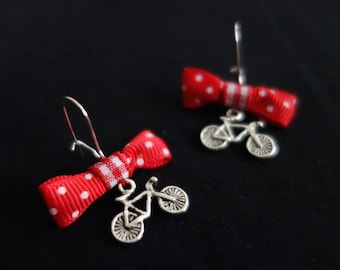 Small dots and bicycle earrings