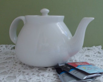 Vintage Cream/White Teapot by Hall Pottery, Made in the USA