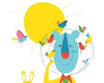 Children's wall art - Sunny Day - Lion art print, bird print art, bunny rabbit, Nursery art, Nursery decor, Children's art, Woodland Nursery