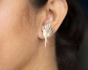 Statement Jewelry / Mood Jewelry / Tropical Earrings / Parrot Earrings / Parrot and Leaf Earrings / Big Studs/Pair
