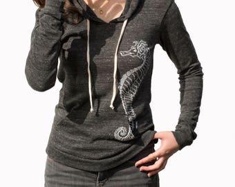 Seahorse| Lightweight Pullover hoodie| Soft organic cotton blend| Art by MATLEY| Gift for her| Zen| Yoga| Jumper| Fish| best seller.