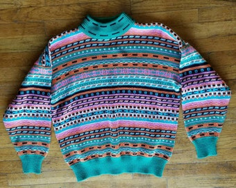 Vintage Sweater, Striped, Colorful - size L #082