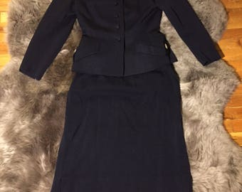 Medium Blue 1950's Skirt Suit