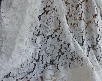 Gorgeous Alencon Lace Wedding Dress Fabric in Off white for Bridal, Wedding Garments, Clothing