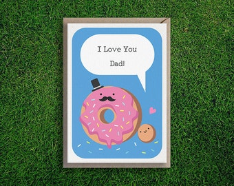 Greeting Cards | I love You Dad card, Father's day, Daddy, Dad, Cute, Silly, Illustration, Pun, Quirky.