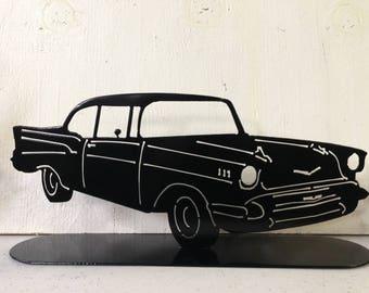Plasma cut, steel, metal art, 1957 Chevy Bel Air, 1957 bel air, car, welded, powder coat, black, garage, entryway, nightstand, decoration