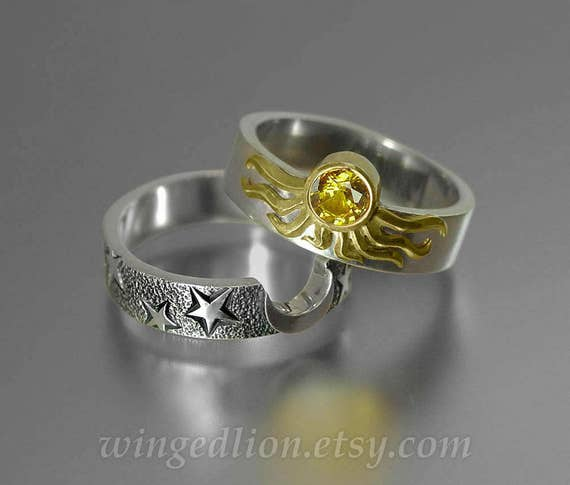 Sun and Moon ECLIPSE Engagement Ring and Wedding Band Set in