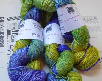 Iris, Hand Dyed yarn, Sock Yarn, Merino/Silk/Cashmere, 4 ply, 100gm