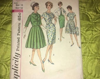 Vintage Simplicity Pattern 4340 Misss Dress with Two Skirts and Jacket Size 12 Bust 32 1960s
