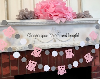 Owl baby shower decorations - Pink and gray baby shower - Girls woodland owl Birthday banner- gender neutral baby shower- your color choices