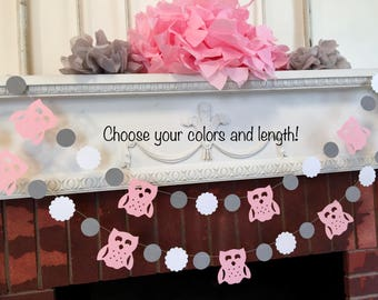 Superior Owl Baby Shower Decorations   Pink And Gray Baby Shower   Girls Woodland Owl  Birthday Banner