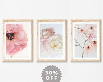 Floral Print Set, Pink Flowers Set of 3 Prints, Mothers Day Gift, Flower Print Wall Art, Modern Shabby Chic Decor, Bedroom Decor