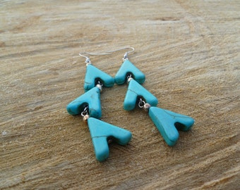 Turquoise Chevron Earrings