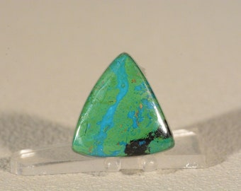 Ring Cabochon Parrot Wing Chrysocolla. Handcrafted USA. Natural Gemstone.