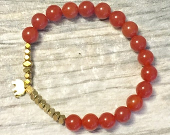 Strength - Creativity - Carnelian Bracelet - Hematite Bracelet - Healing Jewelry - Root Chakra Bracelet - Yoga Bracelet - Energy Bracelet