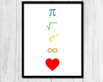 Algebra Art Calculus Art Instant Download I Love Math Rainbow Print Algebra Poster Geometry Poster Geometry Print Calculus Print