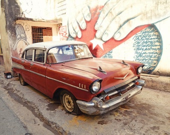 Cuba Art, Red Car, Cuba Photography, Classic Car, Cuban Flag, Retro, Street Art, Graffiti,  Fine Art Print, Wall Art, Havana, Travel Decor
