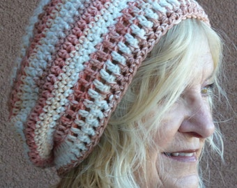 Women's chemo hat, original slouchy beanie, cotton crochet hat that's soft and comfortable, unique handcrafted hat, free shipping in USA