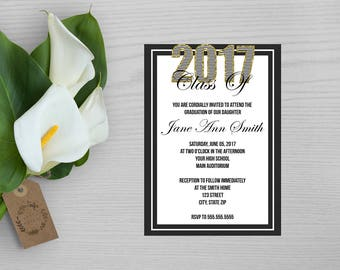 Black and White Graduation Invitation-Black, White and Gold Glitter Graduation Invite-Gold Glitter Graduation Invite-Graduation Announcement
