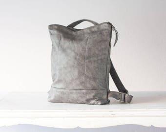 Grey distressed leather backpack unisex, simple backpack bag everyday city soft leather bag backpack laptop 13 back bag-The Minos Bag
